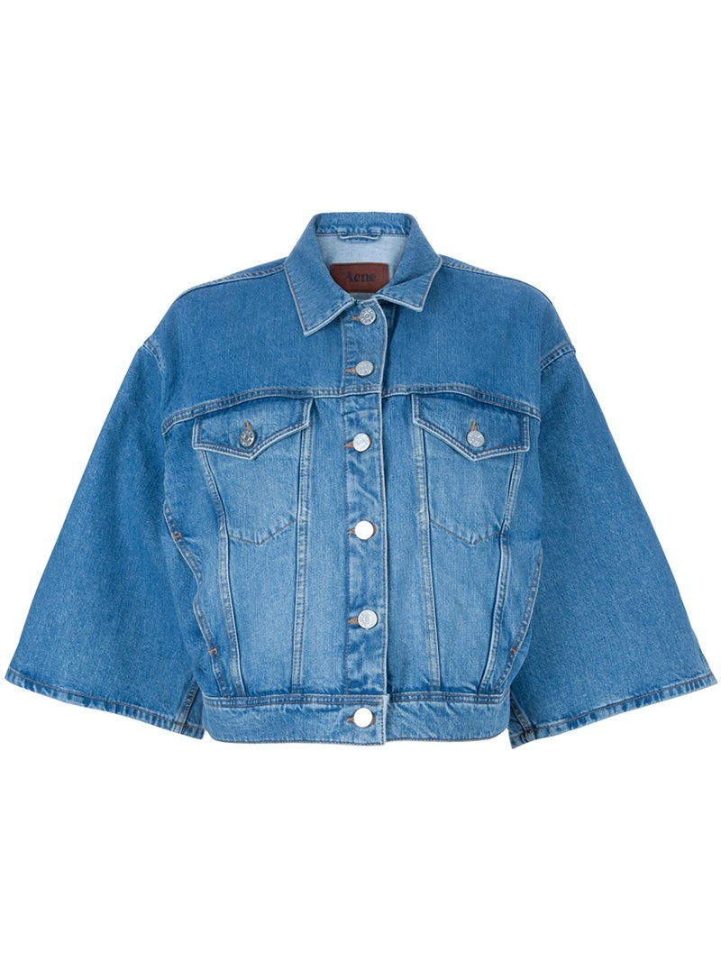 Kimono Sleeve Jacket - pattern: plain; style: denim; collar: high neck; predominant colour: denim; occasions: casual; length: standard; fit: straight cut (boxy); fibres: cotton - 100%; material texture: denim; sleeve length: 3/4 length; sleeve style: standard; texture group: denim; collar break: high; pattern type: fabric; pattern size: standard