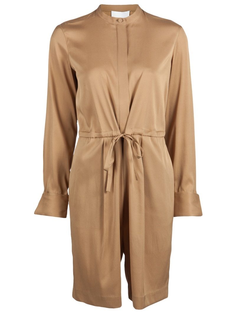 Knee Length Romper - hip detail: front pockets at hip; waist detail: belted waist/tie at waist/drawstring; length: mid thigh shorts; predominant colour: bronze; occasions: casual, work, occasion; fit: body skimming; fibres: silk - mix; texture group: structured shiny - satin/tafetta/silk etc.