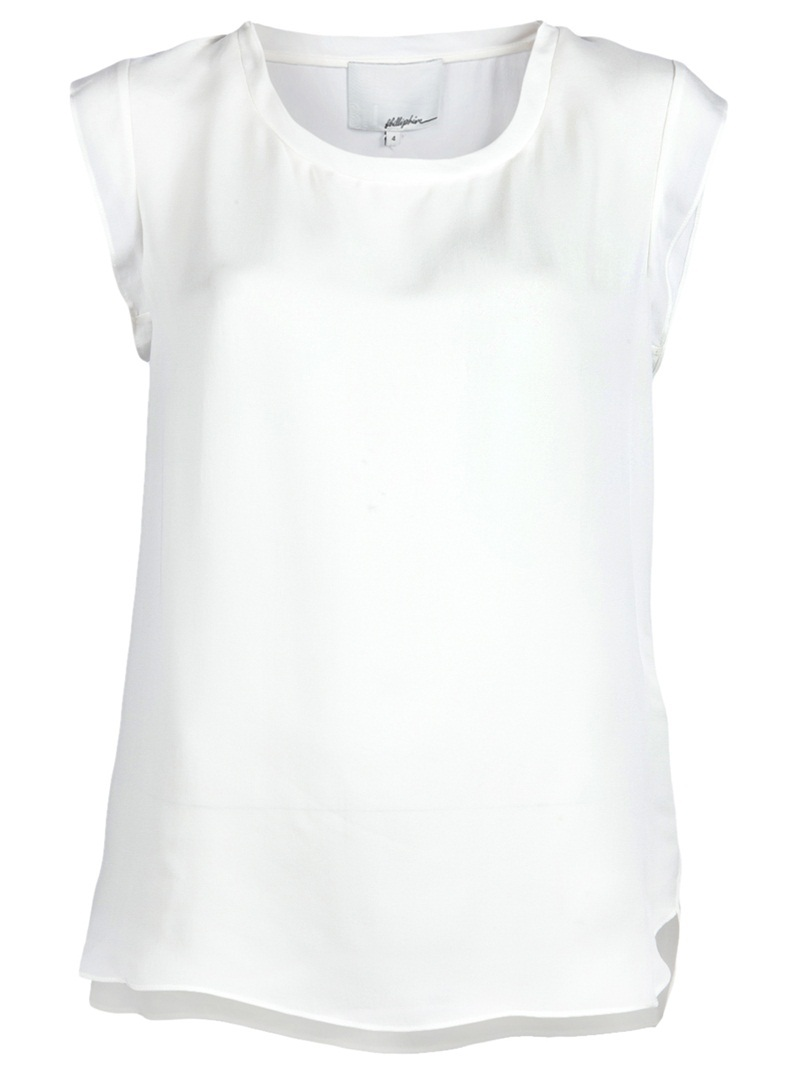 Muscle T Shirt - neckline: round neck; sleeve style: capped; pattern: plain; style: t-shirt; predominant colour: white; occasions: casual, evening, work; length: standard; fibres: silk - 100%; material texture: satin; fit: straight cut; back detail: longer hem at back than at front; trends: white; sleeve length: short sleeve; texture group: structured shiny - satin/tafetta/silk etc.; pattern type: fabric; pattern size: standard