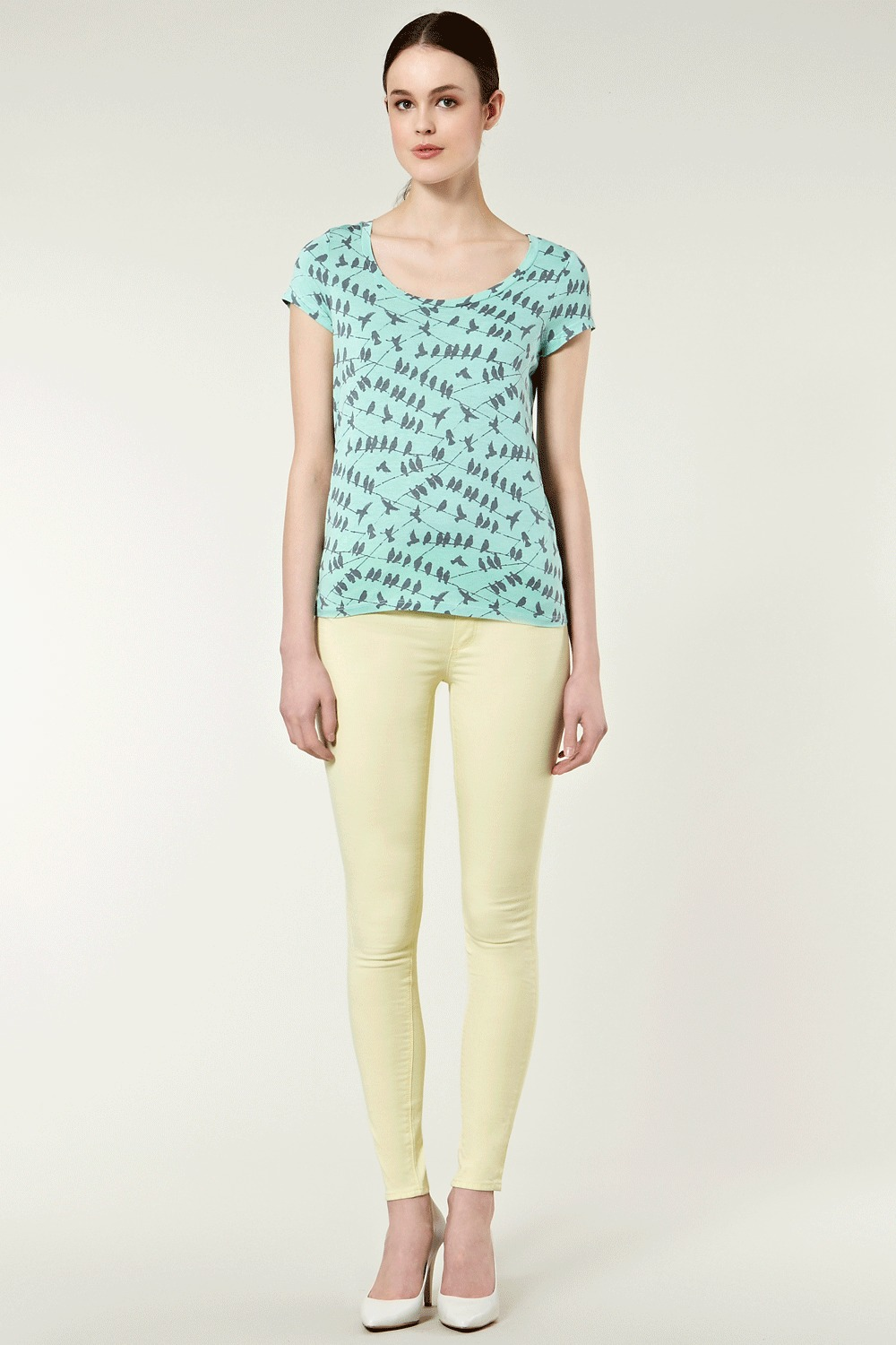 Bird Print Hi Low Hem Tee. - sleeve style: capped; pattern: heavily patterned, print, small animal print, animal print, patterned/print; style: t-shirt; hip detail: fitted at hip, fitted hem at hip; predominant colour: pistachio; occasions: casual; length: standard; neckline: scoop; fibres: polyester/polyamide - 100%; material texture: jersey; fit: body skimming; back detail: longer hem at back than at front; trends: prints; sleeve length: short sleeve; pattern type: fabric; pattern size: small & busy; texture group: jersey - stretchy/drapey