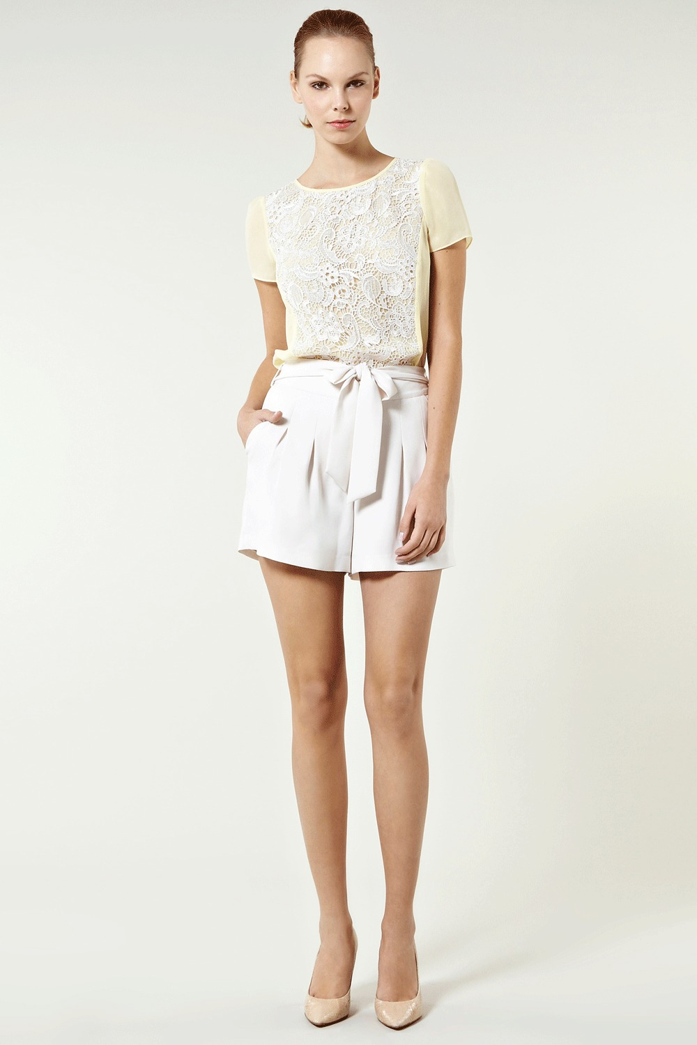 Lace Panel Top - neckline: round neck; pattern: plain, two-tone, lace; back detail: contrast pattern/fabric at back, keyhole/peephole detail at back; predominant colour: primrose yellow; occasions: casual, evening, work, occasion; length: standard; style: top; fibres: polyester/polyamide - 100%; material texture: lace; fit: straight cut; trends: pastels, white; sleeve length: short sleeve; sleeve style: standard; texture group: lace; pattern type: fabric; pattern size: standard