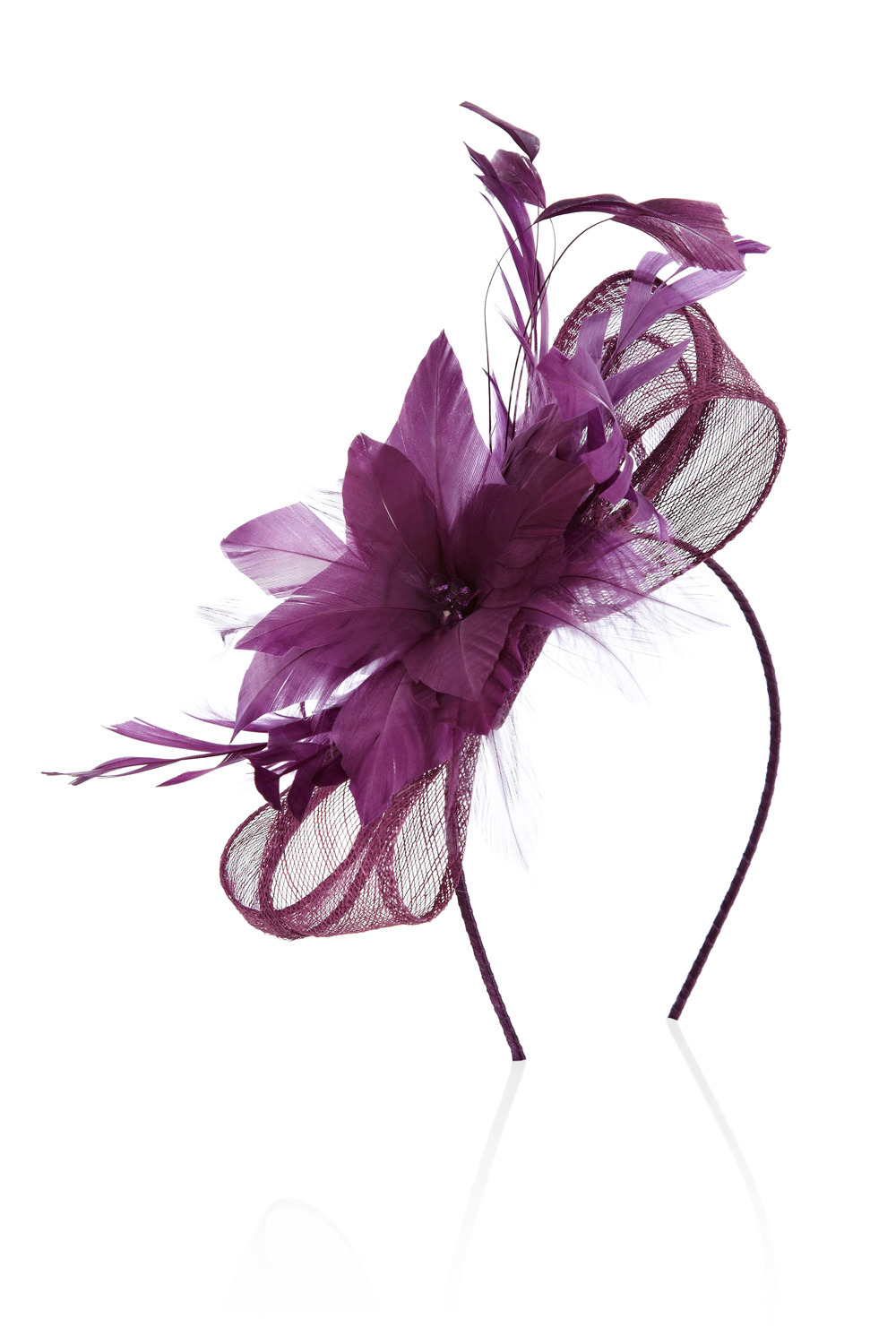 Susie Fascinator - predominant colour: purple; type of pattern: small; style: fascinator; size: standard; material: fabric; embellishment: feather
