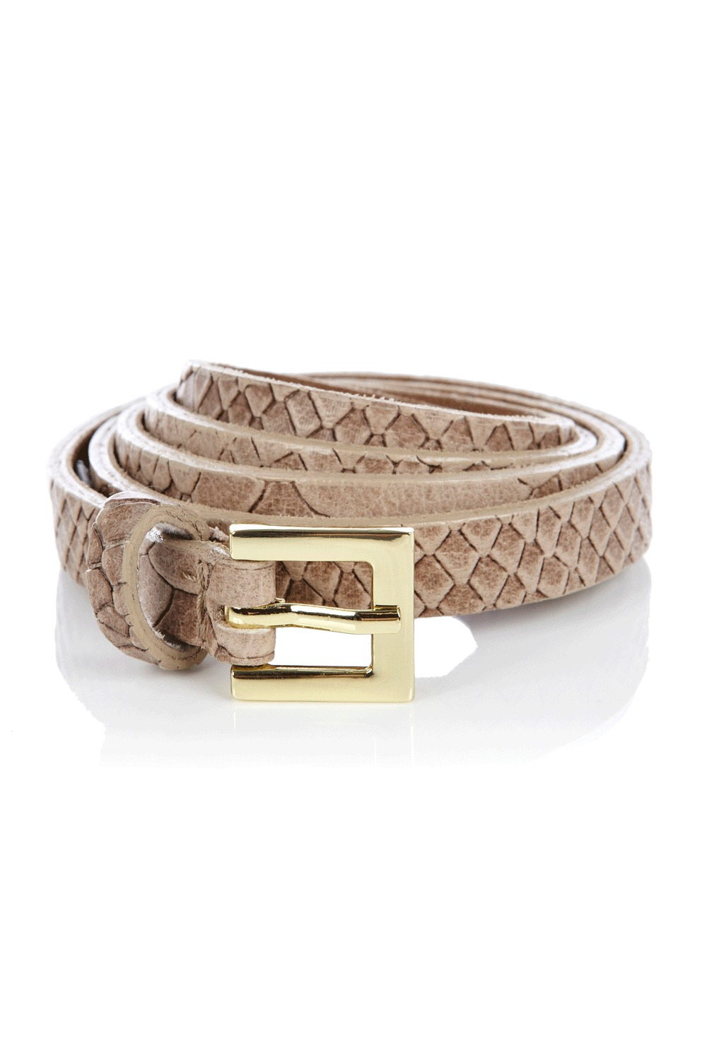 Snake Leather Belt - predominant colour: stone; type of pattern: light; style: classic; size: skinny; worn on: waist; material: leather; pattern: animal print