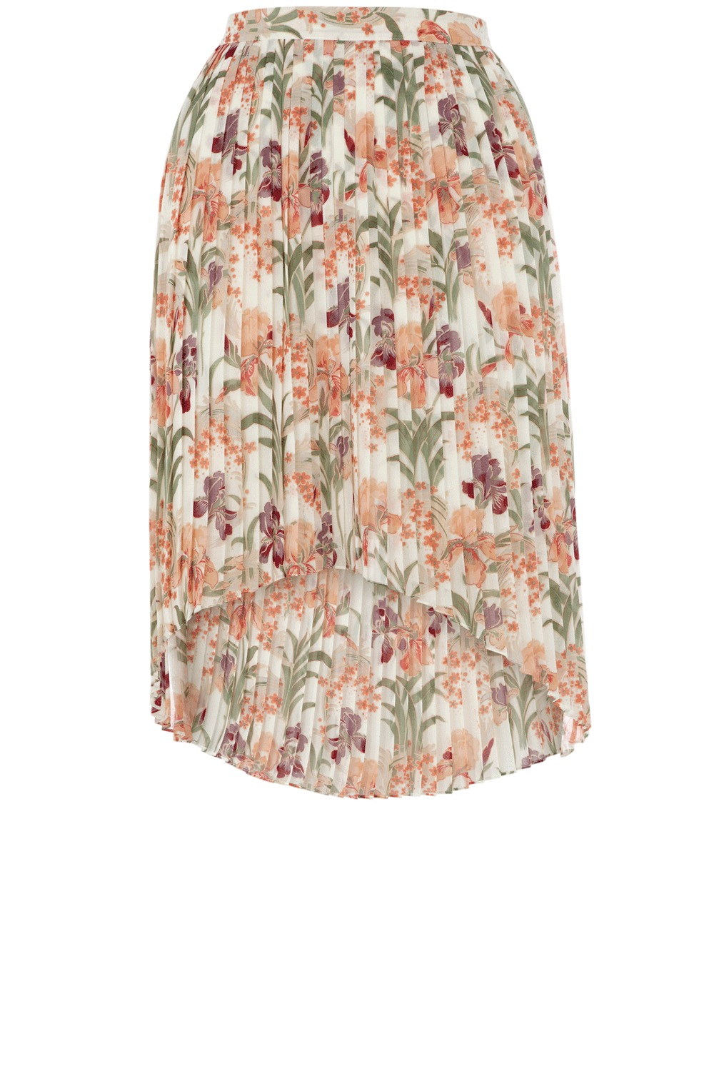 Iris Pleated Skirt - pattern: floral - busy, florals; fit: loose/voluminous; style: pleated; waist detail: fitted waist, narrow waistband; waist: mid/regular rise; occasions: casual, evening, work; length: just above the knee; fibres: polyester/polyamide - 100%; material texture: chiffon; hip detail: structured pleats at hip, soft pleats at hip/draping at hip/flared at hip; predominant colour: multicoloured; trends: pastels, prints; texture group: sheer fabrics/chiffon/organza etc.; pattern type: fabric; pattern size: small &amp; busy