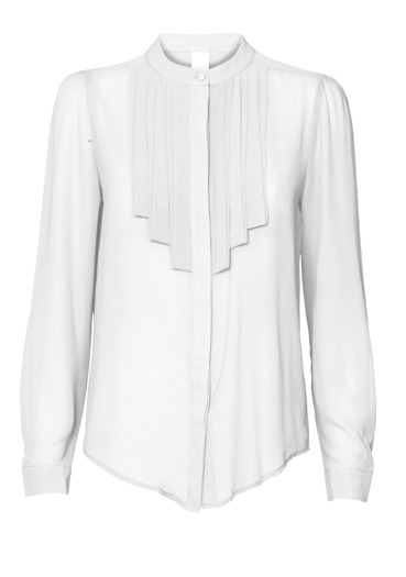 White Pleat Blouse - neckline: round neck; pattern: plain; style: blouse; bust detail: ruching/gathering/draping/layers/pintuck pleats at bust; predominant colour: white; occasions: casual; length: standard; fibres: polyester/polyamide - 100%; material texture: chiffon; fit: body skimming; sleeve length: long sleeve; sleeve style: standard; texture group: sheer fabrics/chiffon/organza etc.; pattern type: fabric; pattern size: standard