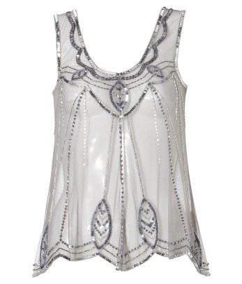 Beaded Detail Mesh Top - pattern: plain; sleeve style: sleeveless; predominant colour: silver; occasions: evening; length: standard; style: top; neckline: scoop; fibres: nylon - 100%; material texture: metallic; fit: tailored/fitted; trends: aquatic; sleeve length: sleeveless; pattern type: fabric; pattern size: small & light; embellishment: beading