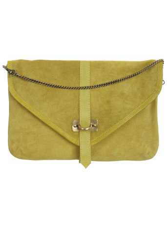 Oversize Leather Clutch - predominant colour: lime; style: clutch; length: hand carry; size: oversized; material: suede; pattern: plain
