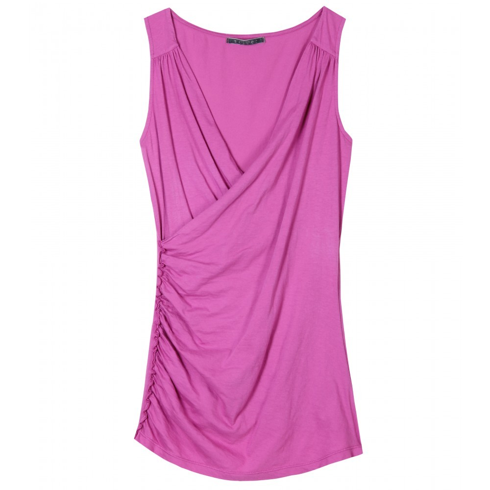 Tacy Tank - neckline: v-neck; pattern: plain; sleeve style: sleeveless; style: wrap/faux wrap; waist detail: twist front waist detail/nipped in at waist on one side/soft pleats/draping/ruching/gathering waist detail; bust detail: ruching/gathering/draping/layers/pintuck pleats at bust; predominant colour: purple; occasions: casual; length: standard; fibres: cotton - stretch; material texture: jersey; fit: body skimming; hip detail: soft pleats at hip/draping at hip/flared at hip; trends: pastels; sleeve length: sleeveless; pattern type: fabric; pattern size: standard; texture group: jersey - stretchy/drapey