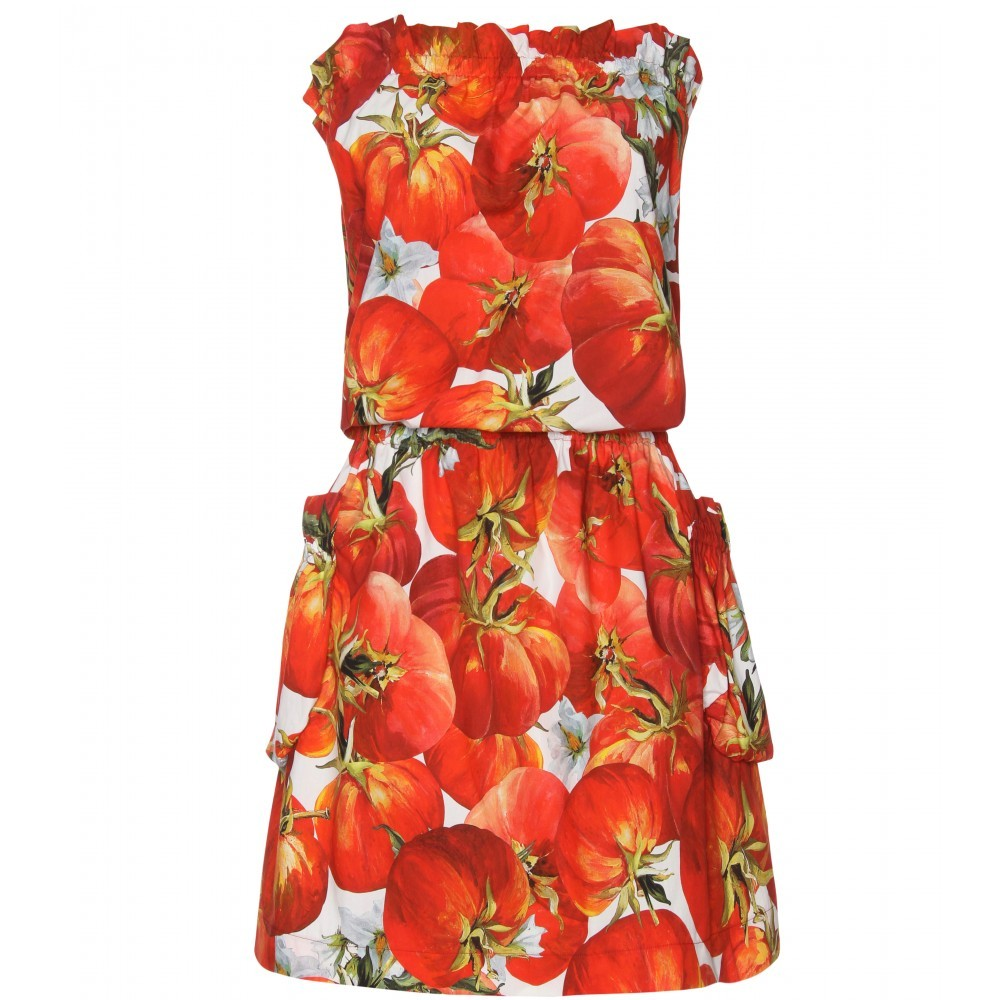 Printed Blouson Dress - length: mid thigh; neckline: strapless (straight/sweetheart); fit: fitted at waist; pattern: heavily patterned, print, patterned/print; sleeve style: strapless; waist detail: elasticated waist, fitted waist; hip detail: side pockets at hip, front pockets at hip; style: strapless; predominant colour: true red; occasions: casual; fibres: cotton - 100%; material texture: chiffon; trends: prints; sleeve length: sleeveless; texture group: sheer fabrics/chiffon/organza etc.; pattern type: fabric; pattern size: big &amp; busy