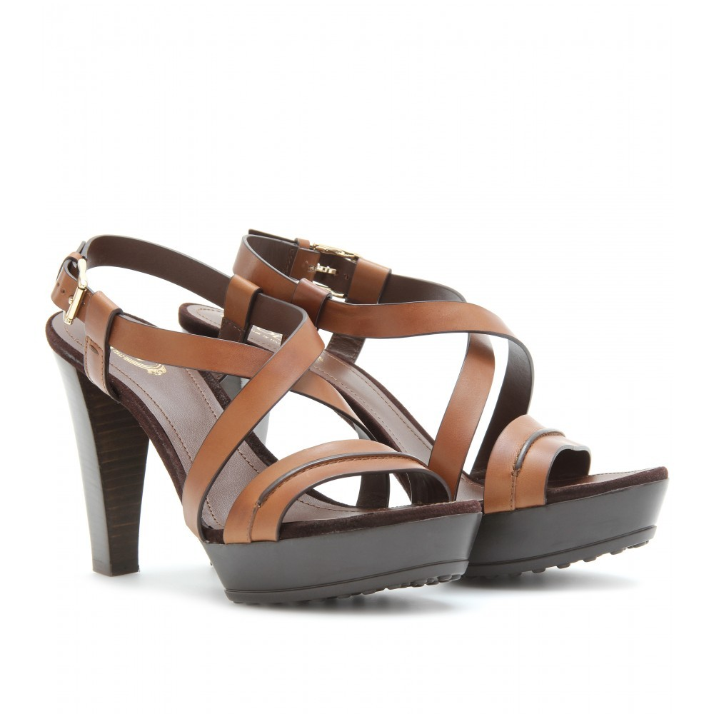 Leather Platform Sling Back Sandals - predominant colour: tan; material: leather; heel height: high; ankle detail: ankle strap; heel: platform; toe: open toe/peeptoe; style: strappy
