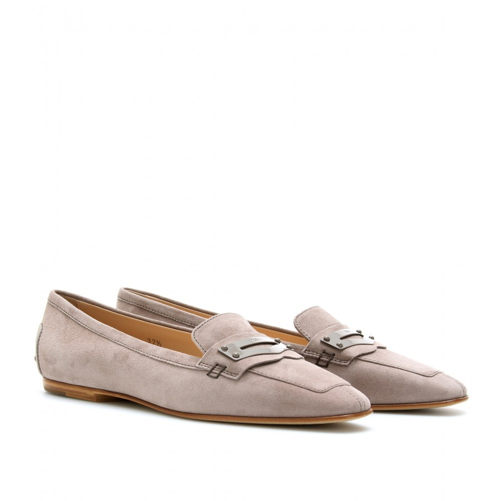 Dressy Nubuck Loafers - predominant colour: taupe; material: suede; heel height: flat; toe: pointed toe; style: loafers