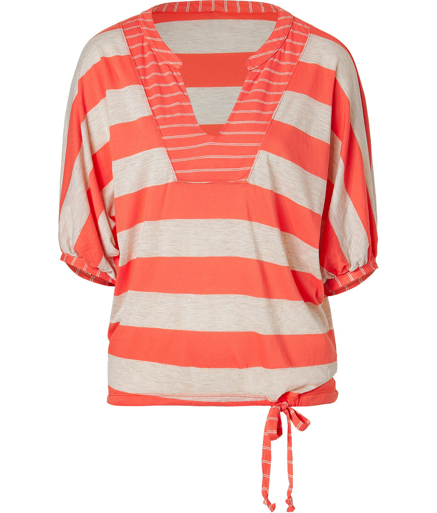 Sunset And Oatmeal Striped Top - neckline: v-neck; pattern: horizontal stripes; predominant colour: bright orange; occasions: casual; length: standard; style: top; fibres: polyester/polyamide - mix; material texture: jersey; fit: tailored/fitted; trends: brights; sleeve length: 3/4 length; sleeve style: standard; pattern type: fabric; pattern size: standard; texture group: jersey - stretchy/drapey