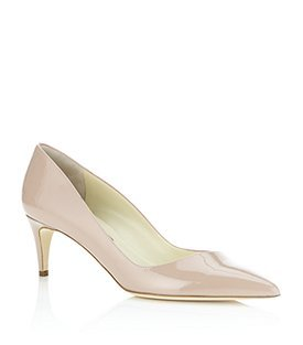 Nym Court Shoe - predominant colour: ivory; material: patent; heel height: mid; heel: kitten; toe: pointed toe; style: courts; finish: patent