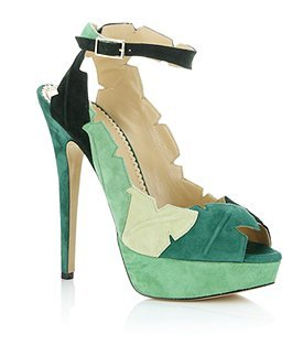 Leaf Me Alone Slingback Heel - predominant colour: emerald green; material: suede; heel height: high; ankle detail: ankle strap; heel: platform; toe: open toe/peeptoe; style: slingbacks