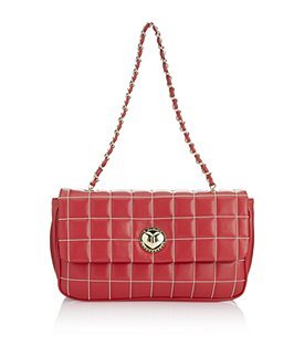 Quilted Shoulder Bag - predominant colour: true red; style: shoulder; length: shoulder (tucks under arm); size: small; material: leather; embellishment: quilted; pattern: plain