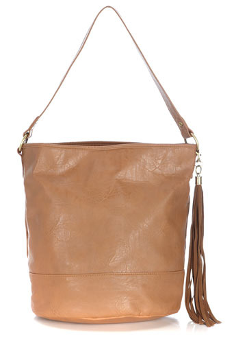 Tan Bucket Tassle Bag - predominant colour: tan; style: shoulder; length: shoulder (tucks under arm); size: standard; material: faux leather; pattern: plain