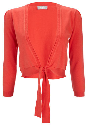 Orange Tie Front Shrug - pattern: plain; neckline: shawl; style: bolero/shrug; length: cropped; predominant colour: terracotta; occasions: casual, work; fibres: polyester/polyamide - stretch; material texture: chiffon; fit: slim fit; waist detail: fitted waist, belted waist/tie at waist/drawstring; trends: brights; sleeve length: long sleeve; sleeve style: standard; texture group: sheer fabrics/chiffon/organza etc.; pattern type: knitted - other; pattern size: standard