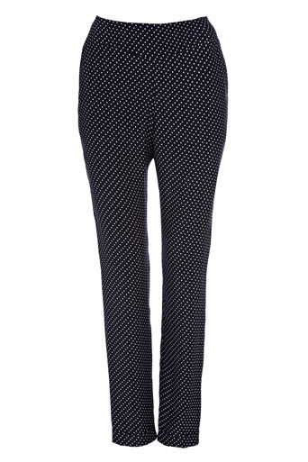 Navy Spot Straight Leg Trouser - length: standard; waist detail: elasticated waist, fitted waist, wide waistband/cummerbund; waist: mid/regular rise; predominant colour: navy; occasions: casual, work; fibres: polyester/polyamide - 100%; material texture: jersey; hip detail: fitted at hip (bottoms); jeans &amp; bottoms detail: turn ups; trends: prints; fit: tapered; texture group: jersey - stretchy/drapey; style: standard