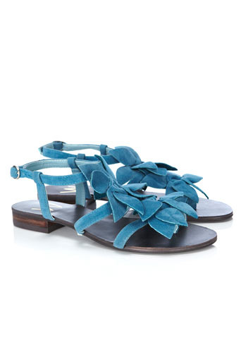 Blue Flower Sandal - predominant colour: denim; material: fabric; heel height: flat; ankle detail: ankle strap; heel: block; toe: open toe/peeptoe; style: slingbacks