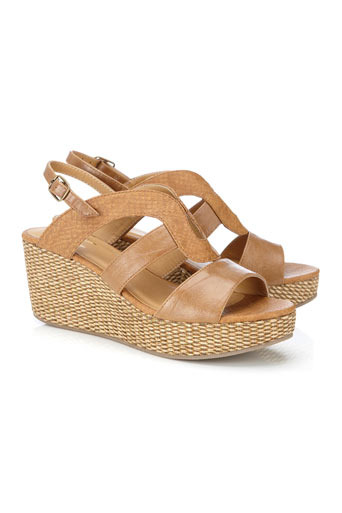 Tan Weave Wedge Sandal - predominant colour: camel; material: faux leather; heel height: mid; heel: wedge; toe: open toe/peeptoe; style: slingbacks