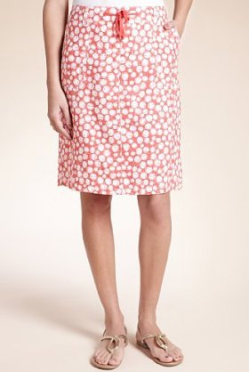 Pure Linen Floral Print Beach Pencil Skirt - pattern: floral - busy, florals; style: straight; fit: body skimming; waist detail: fitted waist, belted waist/tie at waist/drawstring; hip detail: side pockets at hip; waist: mid/regular rise; predominant colour: pink; occasions: casual; length: on the knee; fibres: linen - 100%; material texture: silky; trends: prints; texture group: silky - light; pattern type: fabric; pattern size: small & busy