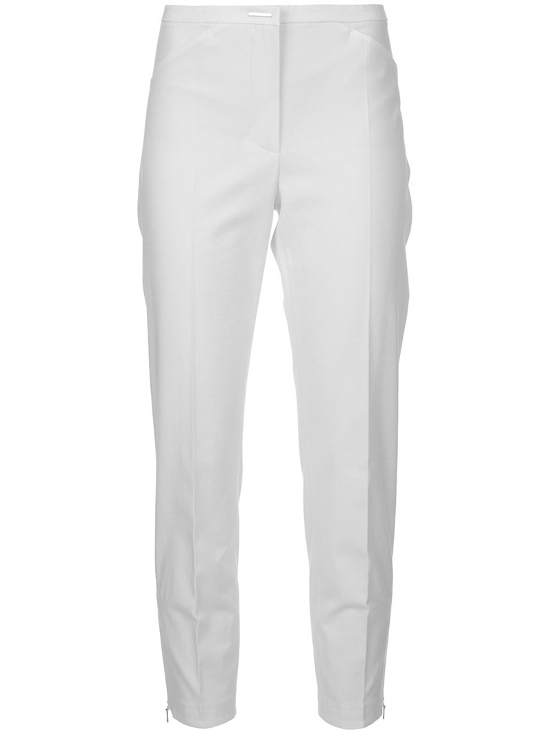 &#x27;Aldina&#x27; Trouser - waist detail: fitted waist, narrow waistband; pocket detail: pockets at the sides; waist: mid/regular rise; predominant colour: white; occasions: casual, evening; length: ankle length; fibres: cotton - stretch; material texture: calico; hip detail: fitted at hip (bottoms); trends: white; texture group: cotton feel fabrics; fit: straight leg; style: standard