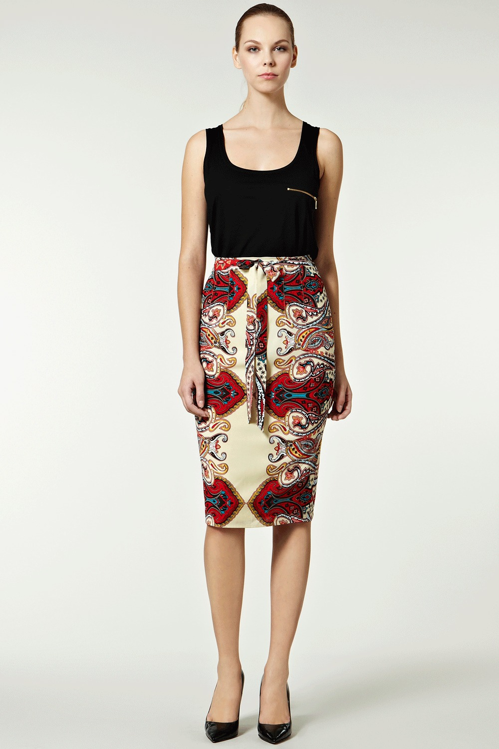 Tejal Scarf Print Pencil Skirt. - length: below the knee; style: pencil; fit: tailored/fitted; waist detail: fitted waist, belted waist/tie at waist/drawstring; waist: high rise; hip detail: fitted at hip; pattern: abstract, patterned/print; occasions: evening, work; fibres: polyester/polyamide - 100%; predominant colour: multicoloured; trends: 1950's, prints; pattern type: fabric; pattern size: standard
