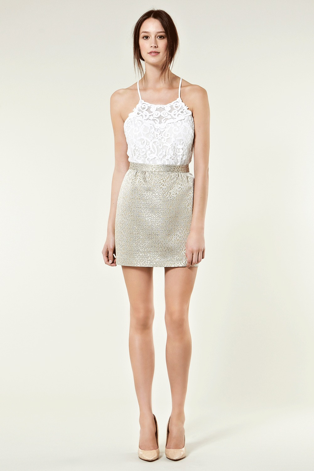 Jacquard Skirt - length: mid thigh; pattern: heavily patterned, lightly patterned, metallic, patterned/print; style: pencil; fit: tailored/fitted; waist detail: fitted waist, narrow waistband; waist: high rise; hip detail: fitted at hip; predominant colour: gold; occasions: casual, evening, work; fibres: polyester/polyamide - mix; material texture: metallic; trends: aquatic; pattern type: fabric; pattern size: small & light