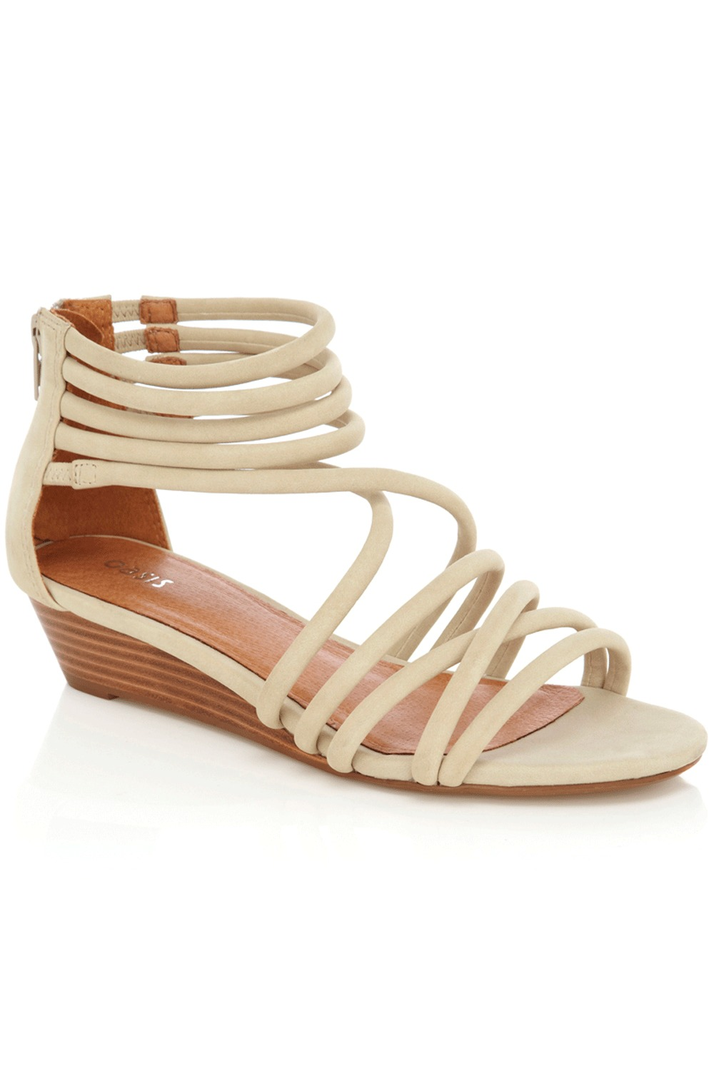 Tube Wedge Sandals - predominant colour: ivory; material: faux leather; heel height: mid; embellishment: zips; ankle detail: ankle strap; heel: wedge; toe: open toe/peeptoe; style: strappy