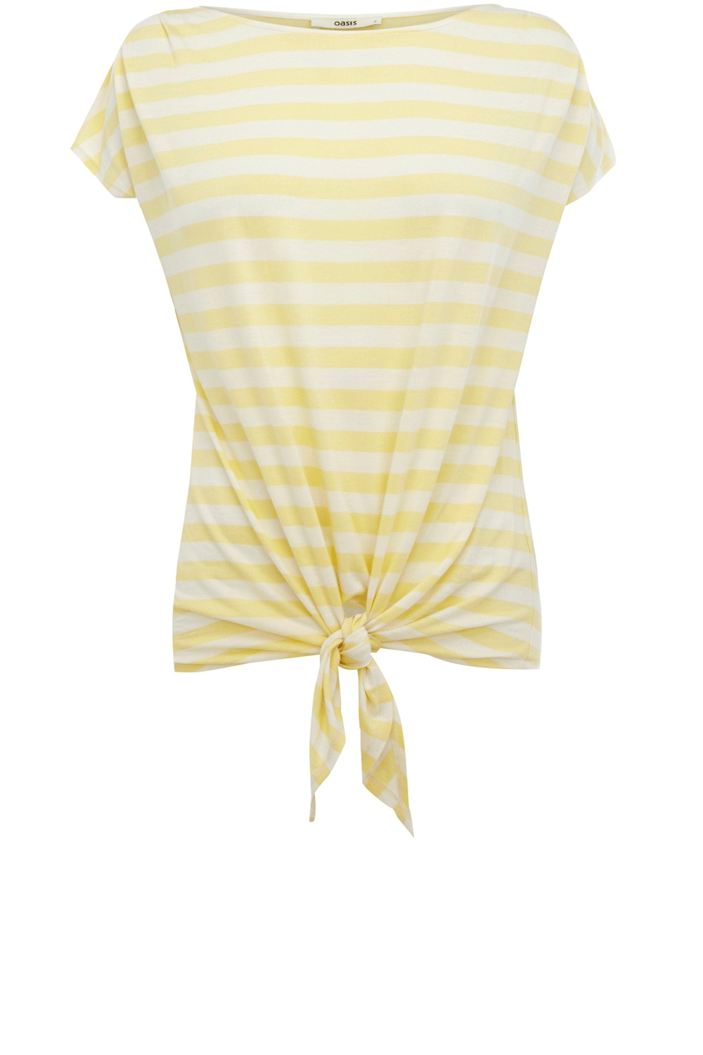 Tie Front T Shirt - neckline: slash/boat neckline; pattern: horizontal stripes, striped; style: t-shirt; waist detail: belted waist/tie at waist/drawstring; predominant colour: primrose yellow; occasions: casual; length: standard; fibres: polyester/polyamide - 100%; material texture: jersey; fit: body skimming; trends: pastels; sleeve length: short sleeve; sleeve style: standard; pattern type: fabric; pattern size: standard; texture group: jersey - stretchy/drapey