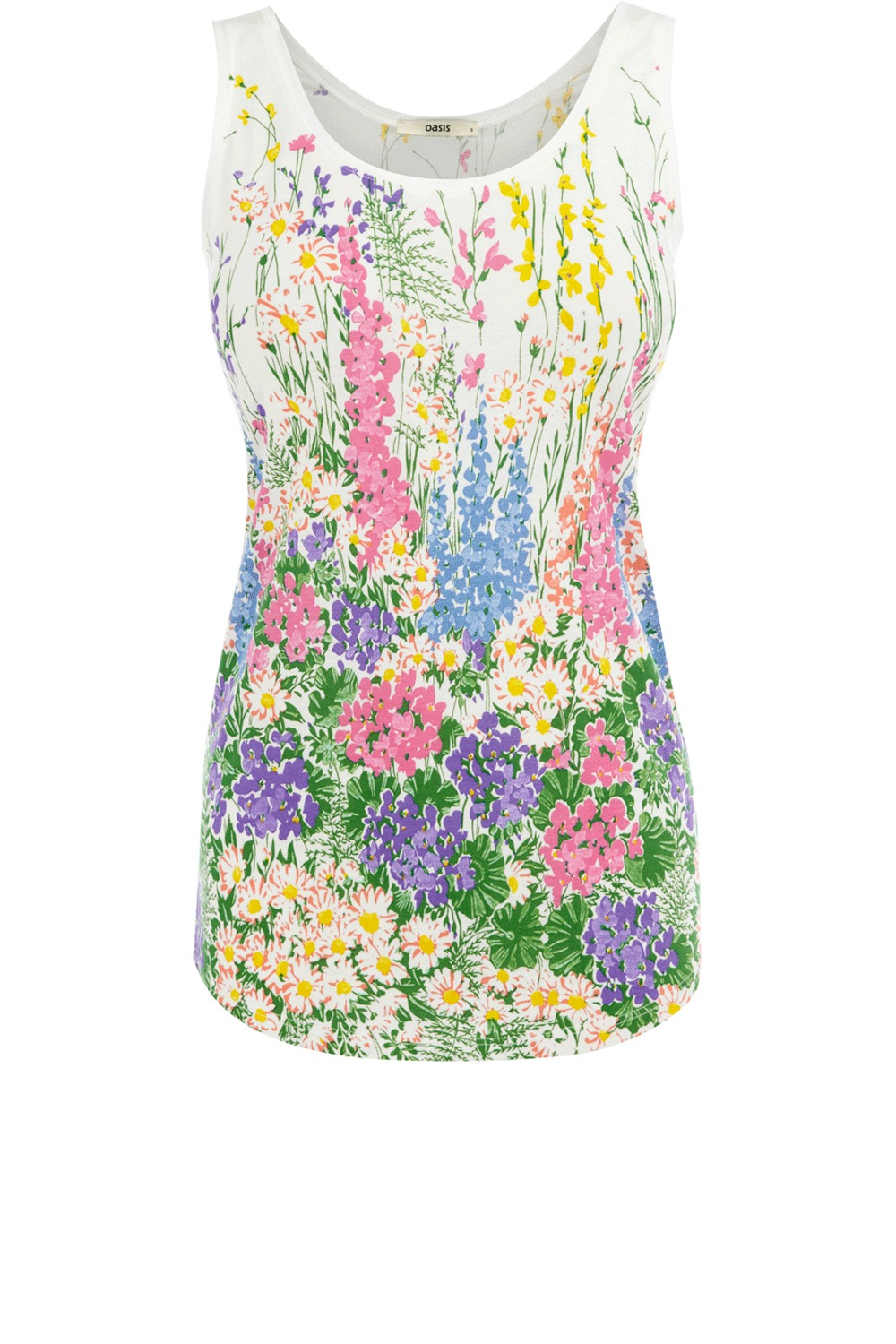 Floral Scoop Vest - sleeve style: standard vest straps/shoulder straps; pattern: floral - busy, florals; waist detail: fitted waist; style: vest top; hip detail: fitted at hip; occasions: casual, evening; length: standard; neckline: scoop; fibres: polyester/polyamide - 100%; material texture: jersey; fit: body skimming; predominant colour: multicoloured; trends: prints; sleeve length: sleeveless; pattern type: fabric; pattern size: small & busy; texture group: jersey - stretchy/drapey