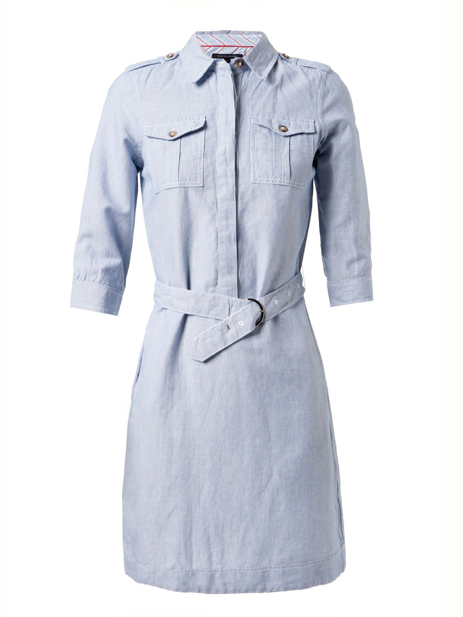 Women&#x27;s Gulcan Stripe Safari 3/4 Sleeve Shirt Dress, Blue - style: shirt; neckline: shirt collar/peter pan/zip with opening; pattern: horizontal stripes, striped; shoulder detail: obvious epaulette; bust detail: added detail/embellishment at bust; waist detail: fitted waist, belted waist/tie at waist/drawstring; predominant colour: pale blue; occasions: casual, work; length: just above the knee; fit: body skimming; fibres: cotton - mix; material texture: jersey; trends: pastels; sleeve length: 3/4 length; sleeve style: standard; pattern type: fabric; pattern size: standard; texture group: jersey - stretchy/drapey