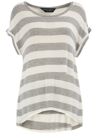 Grey/Ivory Roll Sleeve Knit - neckline: slash/boat neckline; pattern: horizontal stripes; length: below the bottom; style: standard; predominant colour: light grey; occasions: casual; fibres: cotton - 100%; material texture: jersey; back detail: longer hem at back than at front; sleeve length: short sleeve; sleeve style: standard; pattern type: knitted - other; pattern size: standard; texture group: jersey - stretchy/drapey