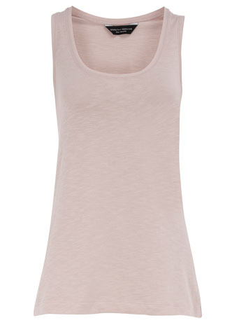 Stone Cotton Step Hem Vest - neckline: high square neck; pattern: plain; sleeve style: sleeveless; style: vest top; predominant colour: stone; occasions: casual; length: standard; fibres: cotton - 100%; material texture: jersey; fit: tailored/fitted; sleeve length: sleeveless; pattern type: fabric; pattern size: standard; texture group: jersey - stretchy/drapey
