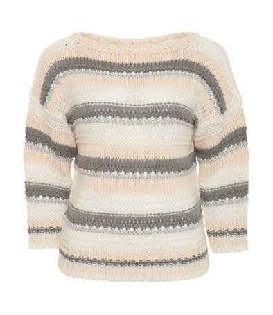 Chunky Lurex Stripe Jumper - neckline: slash/boat neckline; pattern: striped; style: standard; predominant colour: ivory; occasions: casual; length: standard; fibres: acrylic - 100%; material texture: denim; fit: loose; sleeve length: 3/4 length; sleeve style: standard; texture group: denim; pattern type: knitted - other; pattern size: standard