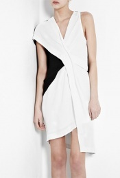 Sugar Fold Twist Dress - neckline: low v-neck; sleeve style: sleeveless; pattern: two-tone; waist detail: fitted waist, twist front waist detail/nipped in at waist on one side/soft pleats/draping/ruching/gathering waist detail; bust detail: ruching/gathering/draping/layers/pintuck pleats at bust; predominant colour: white; occasions: casual, evening; length: just above the knee; fit: body skimming; style: asymmetric (hem); fibres: polyester/polyamide - 100%; material texture: chiffon; hip detail: ruching/gathering at hip; sleeve length: sleeveless; texture group: sheer fabrics/chiffon/organza etc.; pattern type: fabric; pattern size: standard