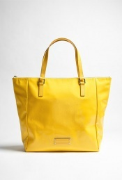 Fluoro Tote - predominant colour: yellow; style: tote; length: handle; size: standard; material: faux leather; pattern: plain