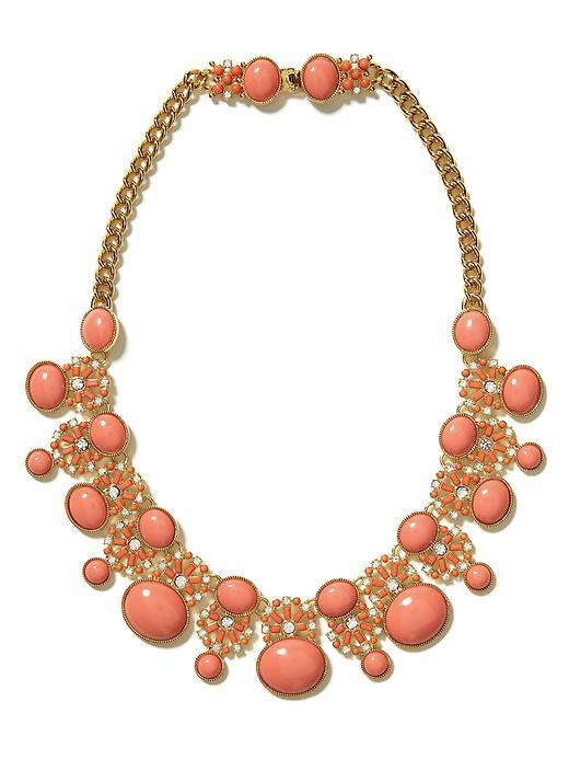 Tropical Sunset Necklace - predominant colour: coral; style: choker/collar; length: mid; size: large/oversized; material: chain/metal