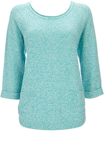 Aqua Curve Hem Pocket Jumper - neckline: round neck; pattern: plain, lightly patterned, patterned/print; hip detail: side pockets at hip, added detail/embellishment at hip; style: standard; predominant colour: turquoise; occasions: casual, work; length: standard; fibres: cotton - 100%; material texture: jersey; fit: standard fit; trends: aquatic; sleeve length: long sleeve; sleeve style: standard; pattern type: knitted - other; pattern size: small & light; texture group: jersey - stretchy/drapey