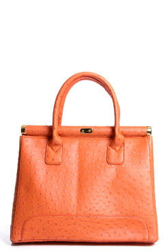Darcy Ostrich Effect Grab Bag - predominant colour: bright orange; type of pattern: standard; style: tote; length: handle; size: standard; material: faux leather; embellishment: animal print; pattern: animal print