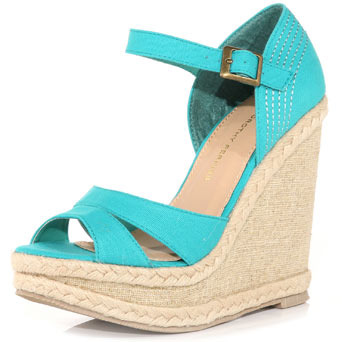 Aqua Split Wedges. - predominant colour: turquoise; material: fabric; heel height: high; embellishment: buckles; ankle detail: ankle strap; heel: wedge; toe: open toe/peeptoe; style: strappy