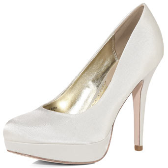 Ivory Satin Court Shoes - predominant colour: ivory; material: satin; heel height: high; heel: platform; toe: round toe; style: courts