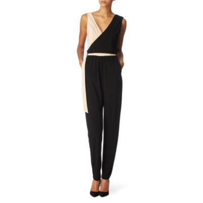 Ometto Jumpsuit - length: standard; fit: tailored/fitted; waist detail: fitted waist, belted waist/tie at waist/drawstring; predominant colour: black; occasions: evening, occasion; fibres: polyester/polyamide - 100%; texture group: structured shiny - satin/tafetta/silk etc.; style: jumpsuit