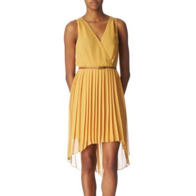 Pleated Dress - style: faux wrap/wrap; length: mid thigh; neckline: low v-neck; fit: fitted at waist; pattern: plain; sleeve style: sleeveless; waist detail: fitted waist, belted waist/tie at waist/drawstring; predominant colour: mustard; occasions: casual, evening, occasion; fibres: polyester/polyamide - 100%; material texture: chiffon; hip detail: structured pleats at hip, soft pleats at hip/draping at hip/flared at hip; back detail: longer hem at back than at front; sleeve length: sleeveless; texture group: sheer fabrics/chiffon/organza etc.; pattern type: fabric; pattern size: standard