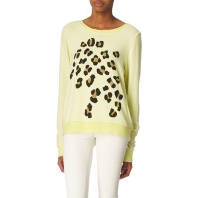 Leopard Jumper - neckline: slash/boat neckline; length: below the bottom; style: fine knit; pattern: big animal print, animal print; predominant colour: primrose yellow; occasions: casual; fibres: polyester/polyamide - mix; material texture: jersey; fit: standard fit; trends: pastels, prints; sleeve length: long sleeve; sleeve style: standard; pattern type: knitted - other; pattern size: big &amp; busy; texture group: jersey - stretchy/drapey