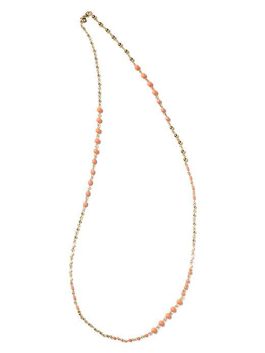 Tropical Cabochon Necklace - predominant colour: coral; style: standard; length: mid; size: small; material: beaded; embellishment: beading