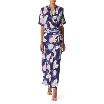 Glennis Wrap Dress - style: faux wrap/wrap; neckline: v-neck; pattern: floral - busy, abstract, florals, patterned/print; waist detail: belted waist/tie at waist/drawstring; bust detail: ruching/gathering/draping/layers/pintuck pleats at bust; predominant colour: royal blue; occasions: casual, evening; length: floor length; fit: body skimming; fibres: silk - 100%; material texture: satin; trends: prints; sleeve length: short sleeve; sleeve style: standard; texture group: structured shiny - satin/tafetta/silk etc.; pattern type: fabric; pattern size: small &amp; busy
