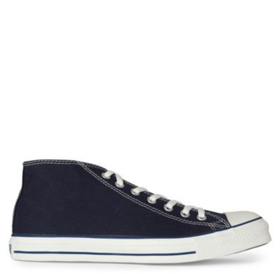 Chuck Taylor Mid Trainers - predominant colour: navy; material: fabric; heel height: flat; toe: round toe; style: trainers