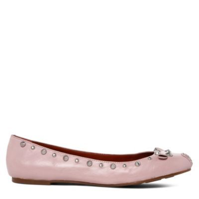 Studded Mouse Pumps - predominant colour: blush; material: leather; heel height: flat; embellishment: studs; toe: round toe; style: ballerinas / pumps