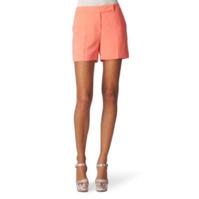 Tailored Mini Shorts - style: shorts; pocket detail: small back pockets, pockets at the sides; length: short shorts; waist: mid/regular rise; predominant colour: coral; occasions: casual, evening, occasion; fibres: polyester/polyamide - 100%; material texture: jersey; hip detail: front pleats at hip level; trends: pastels; fit: slim leg; texture group: jersey - stretchy/drapey